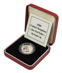 1989 Silver Proof Piedfort One Pound for sale